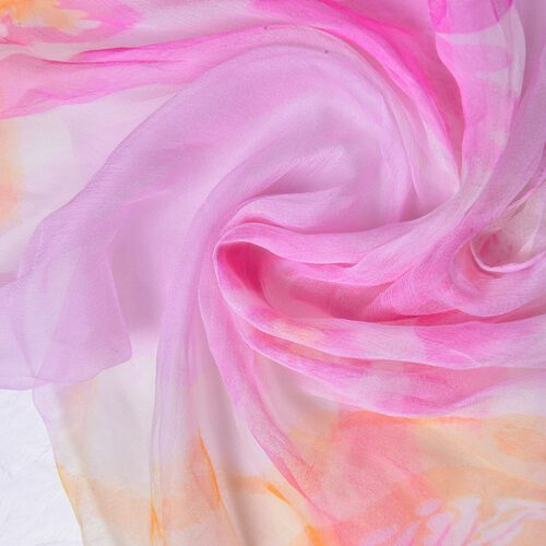 40% Mulberry Silk Pink, Yellow and Multi Colour Floral Pattern Scarf (Size 160x65 Cm)