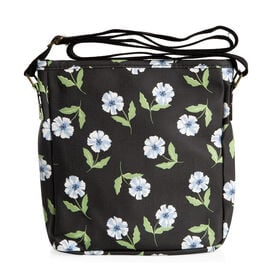 Black Colour Floral Pattern Water Resistant Crossbody Bag with Adjustable Shoulder Strap (Size 24x22