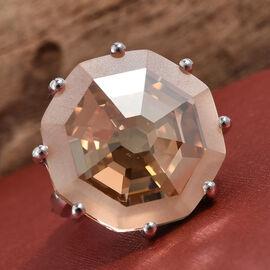 J Francis Golden Shadow Swarovski Crystal Ring in Sterling Silver 6.99 Grams