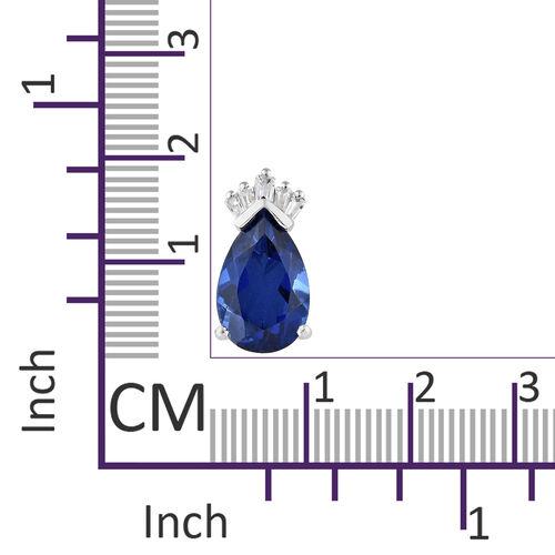 Ceylon Colour Quartz (Pear), Natural Cambodian Zircon Crown Pendant in Platinum Overlay Sterling Silver 5.000 Ct.