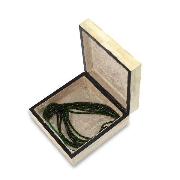 Metal Grid Pattern Handmade Bone and MDF Storage Box with Inside Velvet Lining (Size 15.5x15.5x6 Cm) - Ivory