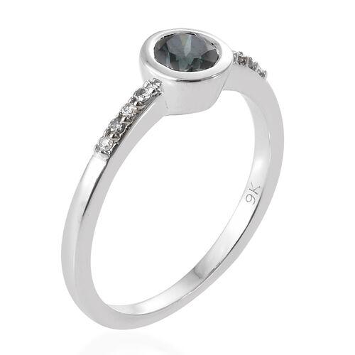 9K White Gold Blue and White Diamond Ring 0.570 Ct.