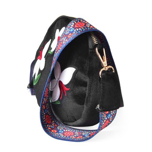 Black, White and Multi Colour Bell Flower Embroidered Velvet Crossbody Bag with Colourful and Removable Shoulder Strap (Size 20X17X3.5 Cm)