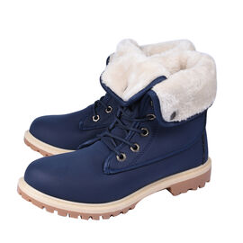 Womens Flat Fur Lined Grip Sole Winter Army Combat Ankle Boots - Navy