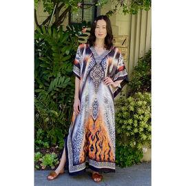 Winlar MARISA Regal Print Long Dress (One Size, S - XXL) - Orange and Black