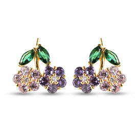 ELANZA Simulated Multi Colour Diamond Flower Earrings (with Push Back) in Yellow Gold Overlay Sterli