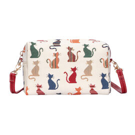 SIGNARE  - Tapestry Collection -Cheeky Cat Shoulder Hip Bag           (20x13x7cm)