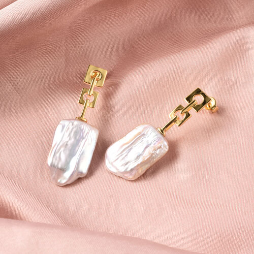 Baroque Pearl Drop Earrings (with Push Back) in Yellow Gold Overlay Sterling Silver