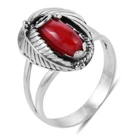 Royal Bali Collection Sponge Coral (Rnd) Fern Leaf Ring in Sterling Silver