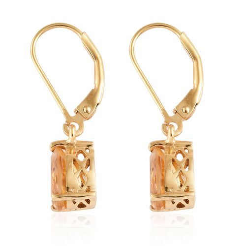 Citrine (Pear) Earrings with Lever Back in 14K Yellow Gold  Overlay Sterling Silver 2.250 CT