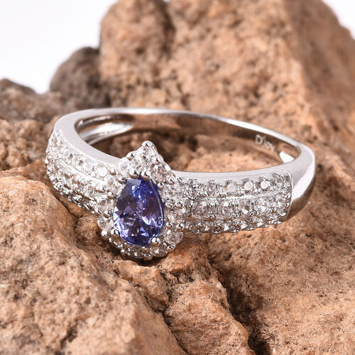 1.10 Ct Tanzanite and Zircon Halo Ring in Rhodium Plated Sterling Silver