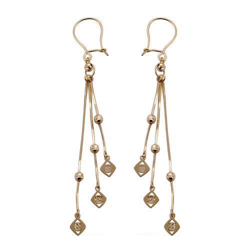 Royal Bali Collection 9K Yellow Gold Triple Strand Box Tassle Earrings with Shepperds Hook Secure Fastener, Gold wt 2.78 Gms.