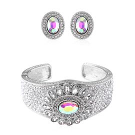 2 Piece Set - Simulated Mercury Mystic Topaz (Ovl), White Austrian Crystal and Simulated Diamond Cuf