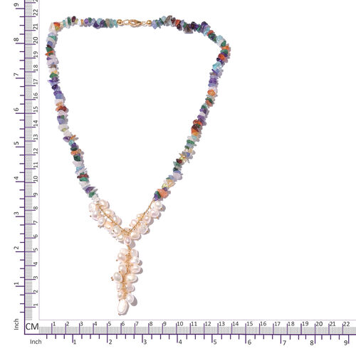 Freshwater Pearl and Multi GemStones Beads Necklace (Size 18) in Sterling Silver 104.000 Ct.