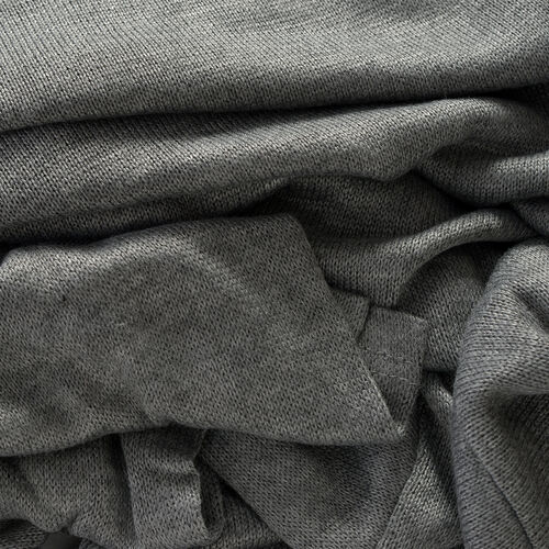 Grey Colour Long Neck Pattern Cardigan (Size Medium / Large)