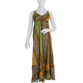Green and Multicolour Flared Hem Boho Dress (Size M/L)