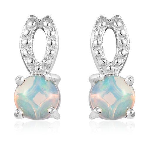 AA Ethiopian Welo Opal Earrings (with Push Back) in Platinum Overlay Sterling Silver 1.00 Ct.
