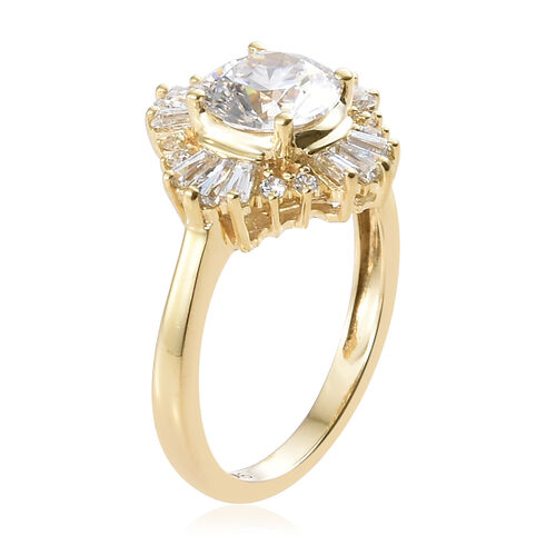 J Francis - 9K Yellow Gold (Rnd) Ring Made With SWAROVSKI ZIRCONIA