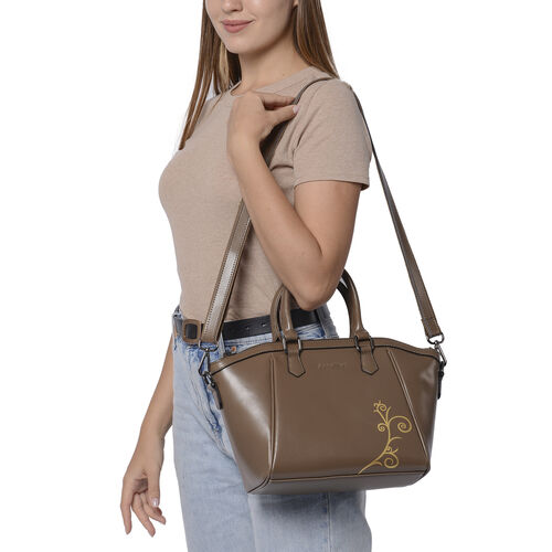 100% Genuine Leather Vine Pattern Tote Bag with Zipper Closure, Detachable and Adjustable Shoulder Strap (Size 22x13x23) - Brown