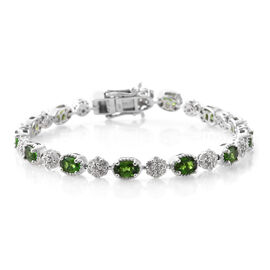 Russian Diopside (Ovl), Narural Cambodian Zircon Bracelet (Size 7.5) in Platinum Overlay Sterling Silver 8.250 Ct, Silver wt 12.58 Gms, Number Of Gemstone 103