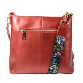 100% Genuine Leather Crossbody Bag with Detachable Shoulder Strap and Zipper Closure (Size 23x7x22 C