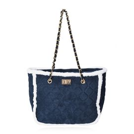 Quilted Pattern Tote Bag with Suede Chain Shoulder Strap and Zipper Closure (Size 31x25x14 Cm) - Nav