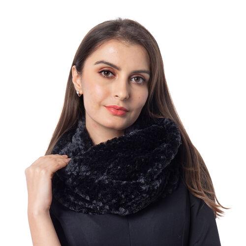 Italian Designer Inspired-High Quality Faux Fur Infinity Scarf (20X160cm) - Black