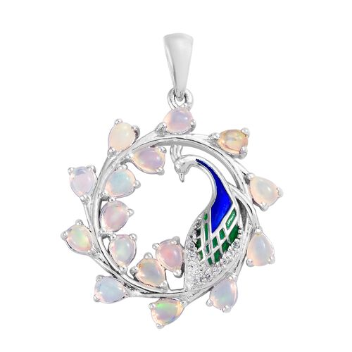 Ethiopian Welo Opal (Pear), Natural Cambodian Zircon Peacock Pandent in Enamelled and Platinum Overlay Sterling Silver 1.500 Ct. Silver wt 5.29 Gms.