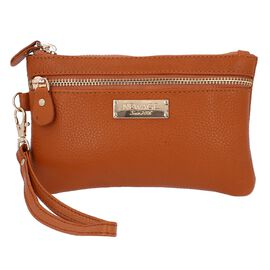 100% Genuine Leather Wristlet  Pouch with Zipper Closure (Size 12x18 Cm) - Tan