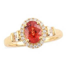 ILIANA 18K Yellow Gold AAA Songea Sapphire and Diamond  (SI/G-H) Ring 1.25 Ct,  Gold Wt. 3.95 Gms