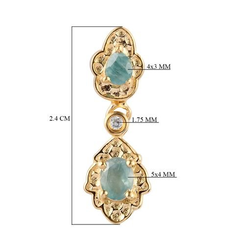 Grandidierite and Natural Cambodian Zircon Dangling Earrings (with Push Back) in 14K Gold Overlay Sterling Silver 1.06 Ct.
