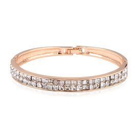 White Austrian Crystal (Sqr) Bangle (Size 7.5) in Yellow Gold Tone