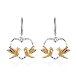Yellow Gold and Platinum Overlay Sterling Silver Lever Back Love Birds Earrings