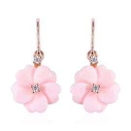 Jardin Collection - Pink Mother of Pearl, Natural White Cambodian Zircon Hook Earrings in Rose Gold
