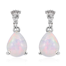 2 Carat Ethiopian Opal and Diamond Drop Earrings in Platinum Plated Sterling Silver