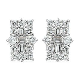 RHAPSODY 950 Platinum IGI Certified Diamond (Rnd and Bgt) (VS/E-F) Boat Cluster Earrings (with Screw