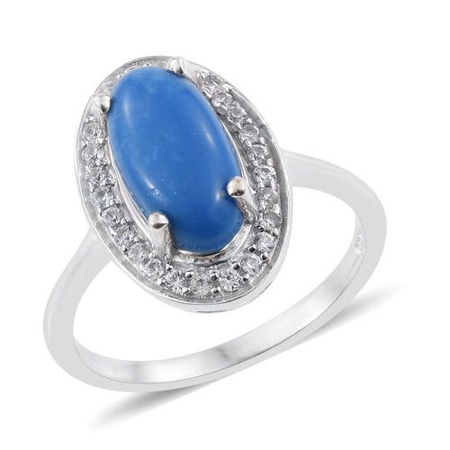 Ceruleite (Ovl 1.50 Ct), Natural Cambodian Zircon Ring in Platinum Overlay Sterling Silver 1.750 Ct.