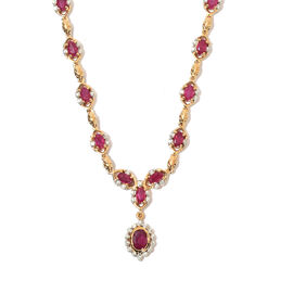 African Ruby and Natural Cambodian Zircon Necklace (Size 18 with 2 inch Extender) in 14K Gold Overla