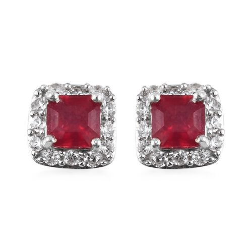 African Ruby (Oct), Natural Cambodian Zircon Earrings (with Push Back) in Platinum Overlay Sterling