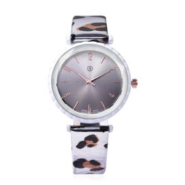 STRADA Japanese Movement Water Resistance Watch with Leopard Pattern Strap - Silver