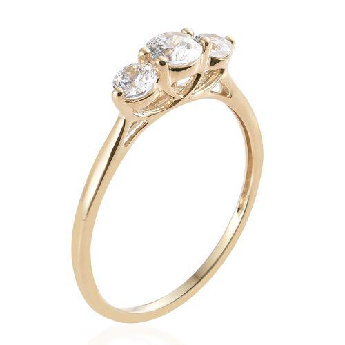 J Francis - 9K Yellow Gold (Rnd) 3 Stone Ring Made with SWAROVSKI ZIRCONIA.