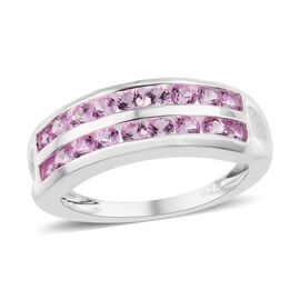 One Time Deal- Lab Created Pink Sapphire (Rnd) Ring (Size T) in Sterling Silver
