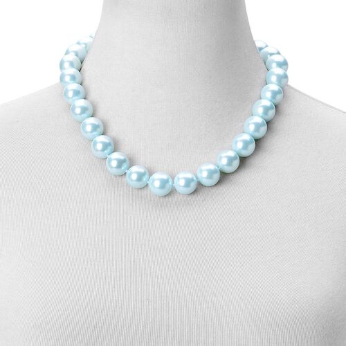 Rare Big Size Light Blue Shell Pearl (16 mm) Ball Beads Necklace (Size 20) with Magnetic Clasp in Rhodium Plated Sterling Silver