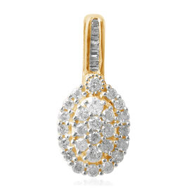 Diamond (0.50 Ct) 9K Y Gold Pendant  0.500 Ct.