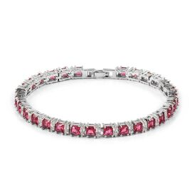 Simulated Rubellite and Simulated Diamond Tennis Bracelet in Silver Tone 7 Inch