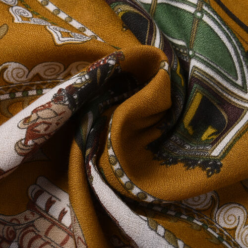 New Arrival-  Horse Print Scarf in Mustard (80x180cm)