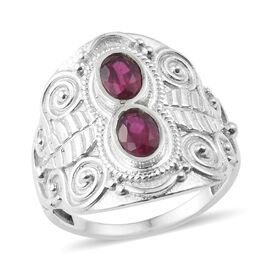 1.38 Ct African Ruby Butterfly Ring in Sterling Silver 6.47 Grams