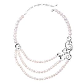 LucyQ Freshwater White Pearl and African Ruby Three Strand Necklace (Size 16 with 4 inch Extender) (