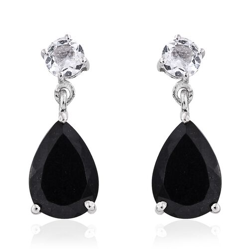 Black Tourmaline (Pear), White Topaz Drop Earrings (with Push Back) in Platinum Overlay Sterling Silver 4.750 Ct.