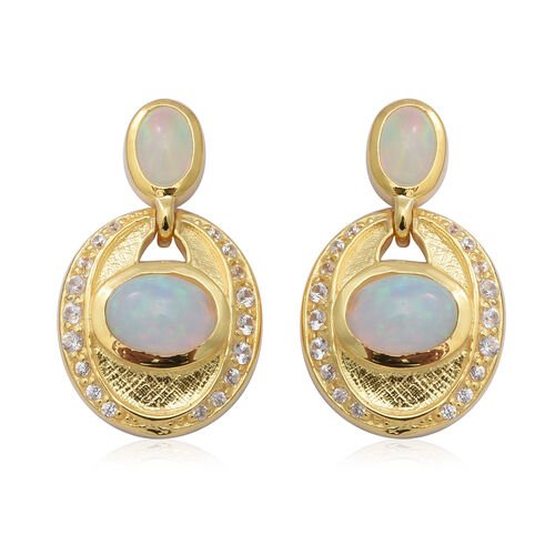 Ethiopian Welo Opal and Natural Cambodian Zircon Earrings in Yellow Gold Overlay Sterling Silver 2.7